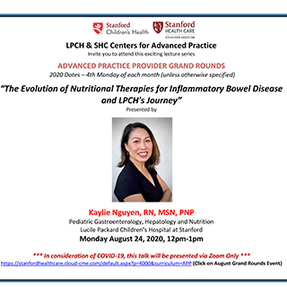 APP Grand Rounds August 2020 - The Evolution of Nutritional Therapies for Inflammatory Bowel Disease and LPCH's Journey Banner
