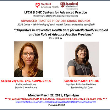 APP Grand Rounds March 2021 - Disparities in Preventive Health Care for Intellectually Disabled and the Role of Advance Practice Providers (3/22/2021) Banner